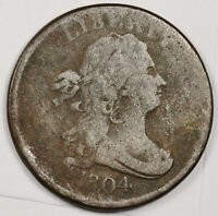 1804 HALF CENT.  CROSS 4.  STEMLESS.  NATURAL UNCLEANED.  FINE.   158496