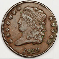 1828 HALF CENT.  NATURAL EXTRA FINE .   158502