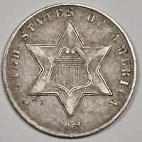 1861 3 CENT SILVER.  EXTRA FINE .  158608
