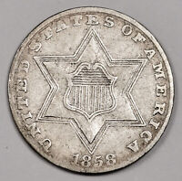 1858 3 CENT SILVER.   NATURAL UNCLEANED  EXTRA FINE .   158599