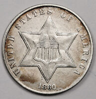 1860 3 CENT SILVER.  EXTRA FINE .   158604