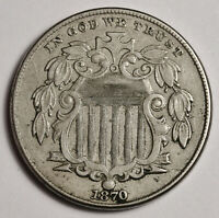 1870 SHIELD NICKEL.  NATURAL UNCLEANED  EXTRA FINE .  158640