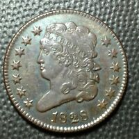 1828  AU  13 STAR   CLASSIC HEAD  HALF CENT   ATTRACTIVE TEAL HUE