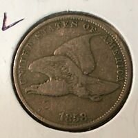 1858  SMALL LETTER   FLYING EAGLE CENT    COIN