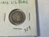 1903 BARBER SILVER DIME 10 CENTS