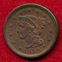 1850 BRAIDED HAIR LARGE COPPER CENT CHOICE ALMOST UNCIRC SHIPS FREE
