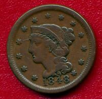 1848 BRAIDED HAIR LARGE COPPER CENT CHOICE FINE SHIPS FREE