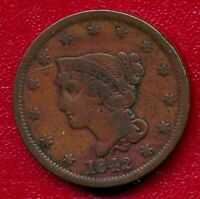 1842 BRAIDED HAIR LARGE COPPER CENT LY CIRCULATED SHIPS FREE