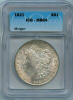 1921 P ICG MINT STATE 64 MORGAN DOLLAR $1 US MINT SILVER COIN 1921-P MINT STATE 64 SUPER PQ