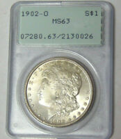 PCGS MINT STATE 63 1902-O MORGAN SILVER DOLLAR NEW ORLEANS CHOICE BU OLD RATTLER HOLDER
