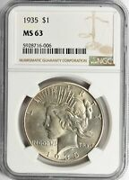 1935 PEACE DOLLAR NGC CERTIFIED MINT STATE 63