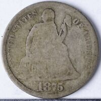 1875 CC SEATED LIBERTY DIME G ABOVE BOW