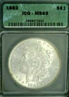1882 MORGAN SILVER DOLLAR ICG MINT STATE 63    546