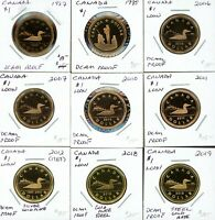 CANADA LOT OF 9 DIFFERENT $1 PROOF LOONIES