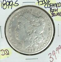 1899-S MORGAN SILVER DOLLAR  FINE  CLEANED & RIM BRUISE  COINREF D/D