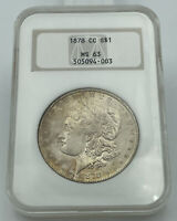 1878-CC NGC MINT STATE 63 MORGAN SILVER DOLLAR PQ COIN OLD HOLDER