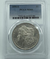 1890-S PCGS MINT STATE 66 MORGAN SILVER DOLLAR