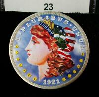 DOUBLE-SIDED COLORIZED / PAINTED 1921 D MORGAN SILVER DOLLAR 23