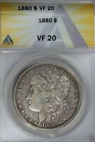 1880  $1  ANACS  VF 20   MORGAN SILVER DOLLAR, MISS LIBERTY HEAD