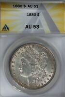 1880  $1  ANACS  AU 53   MORGAN SILVER DOLLAR, MISS LIBERTY HEAD