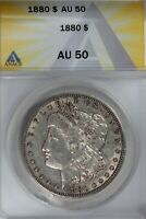 1880  $1  ANACS  AU 50   MORGAN SILVER DOLLAR, MISS LIBERTY HEAD