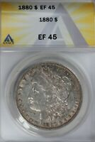 1880  $1  ANACS  EF 45   MORGAN SILVER DOLLAR, MISS LIBERTY HEAD