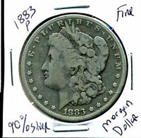 1883 P F MORGAN DOLLAR 100 CENT FINE 90SILVER US $1  OLD COIN AUCTION4927