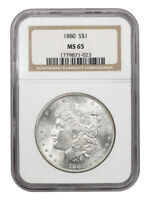 1880 $1 NGC MINT STATE 65 - MORGAN SILVER DOLLAR - BETTER DATE