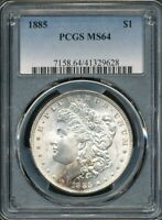 1885 MORGAN SILVER DOLLAR PCGS MINT STATE 64 A TOUCH OF RAINBOW TONING AT 7:00