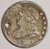 1814 BUST DIME.  XF  DETAIL.  HOLED.  160025