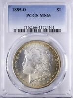 1885 O MORGAN DOLLAR PCGS MINT STATE 66 PRETTY PERIPHERAL AND REVERSE TONING