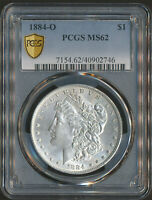 HIGH END PCGS MINT STATE 62 | 1884-O MORGAN SILVER DOLLAR 90 .7735 TROY OZ OF SILVER