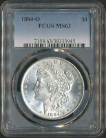 PCGS MINT STATE 63 | 1884-O MORGAN SILVER DOLLAR 90 .7735 TROY OZ OF SILVER