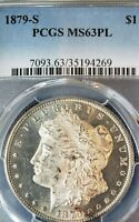 1879-S MORGAN PCGS MINT STATE 63 PL -HEAVY FROSTED DEVICES CREATE  CAMEO APPEARANCE