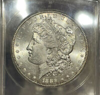 1889-S ANACS MINT STATE 63 MORGAN SILVER DOLLAR LUSTROUS COIN