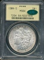 1904-S MORGAN SILVER DOLLAR PCGS MINT STATE 64 / CAC OLD YELLOW-GREEN HOLDER
