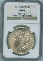 1921 P NGC MINT STATE 64 MORGAN SILVER DOLLAR $1 US MINT 1921-P VAM 57A MINT STATE 64 PQ COIN