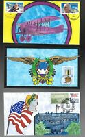 US FDC FIRST DAY COVERS  COLLECTION LOT OF 3   HAND PAINTED