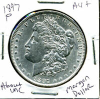 1897 P AU MORGAN DOLLAR 100 CENT  ABOUT UNCIRCULATED 90 SILVER US $1 COIN 1168