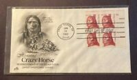 1855 ARTCRAFT CRAZY HORSE PLATE BLOCK FIRST DAY COVER