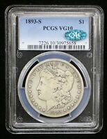 1893-S MORGAN SILVER DOLLAR PCGS VG10 CAC CERTIFIED - 08666