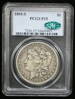 1893-S MORGAN SILVER DOLLAR PCGS F15 CAC CERTIFIED - 08667