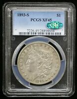 1893-S MORGAN SILVER DOLLAR PCGS EXTRA FINE 45 CAC CERTIFIED - 08675