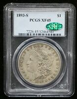 1893-S MORGAN SILVER DOLLAR PCGS EXTRA FINE 45 CAC CERTIFIED - 08677