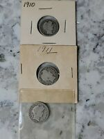 BARBER DIMES - 1910, 1911, 1912 DECENT CONDITION UNGRADED LOT OF 3