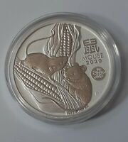 2020 1 OZ SILVER LUNAR YEAR OF THE MOUSE / RAT DRAGON PRIVY