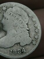 1834 CAPPED BUST SILVER DIME- LARGE 4- VG DETAILS