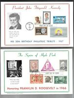 US FDC FIRST DAY COVERS  LOT OF 7  ON LARGE CARD  WITH COMBO