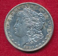 1880-S MORGAN SILVER DOLLAR CHOICE ABOUT UNCIRCULATED SHIPS FREE