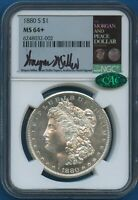 1880 S NGC MINT STATE 64 MORGAN SILVER DOLLAR $1 1880-S MINT STATE 64  PLUS CAC MILLER SIGNED